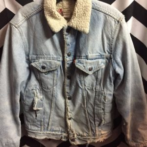 SHERPA LINED PERFECTLY DISTRESSED DENIM JACKET 1