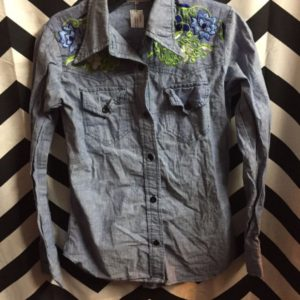 LS BD CHAMBRAY DENIM SHIRT EMBROIDERED FLOWERS INDIA COTTON 1