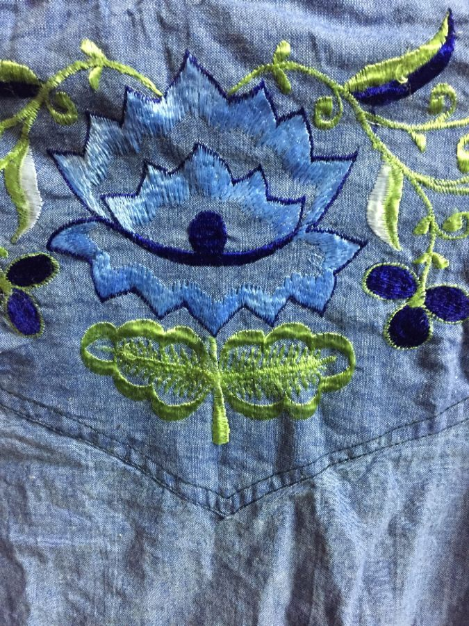 LS BD CHAMBRAY DENIM SHIRT EMBROIDERED FLOWERS INDIA COTTON 3