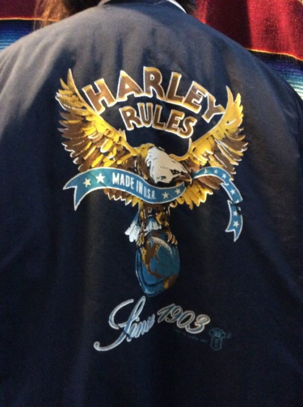 """1987 HARLEY DAVIDSON BASEBALL STYLE JACKET, PUFFY, BUTTON-UP, """"HARLEY RULES"""" SINCE 1903 MADE IN AMERICA, SCREEN PRINTED BACK GRAPHIC 9"""