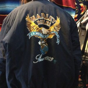 "1987 HARLEY DAVIDSON BASEBALL STYLE JACKET, PUFFY, BUTTON-UP, ""HARLEY RULES"" SINCE 1903 MADE IN AMERICA, SCREEN PRINTED BACK GRAPHIC 6"