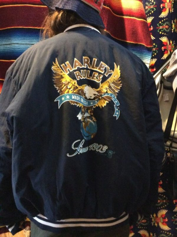 """1987 HARLEY DAVIDSON BASEBALL STYLE JACKET, PUFFY, BUTTON-UP, """"HARLEY RULES"""" SINCE 1903 MADE IN AMERICA, SCREEN PRINTED BACK GRAPHIC 6"""