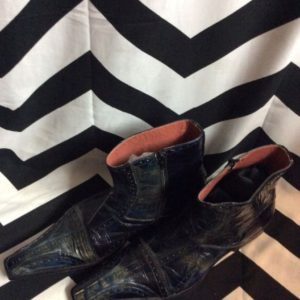 OXFORD PATTERN LEATHER BOOTS EXTENDED TOE ZIP SIDE 1