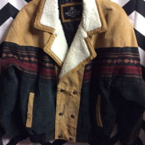 CROPPED SUEDE BOMBER JACKET SHERPA LINE COLLAR ETHNIC PATTERN 1
