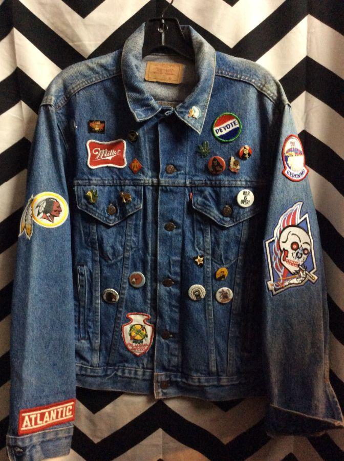 Custom Levis Denim Jacket W Pins Amp Patches 4 Pockets