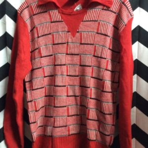 Sweater Pulllover Square Zigzag Stirpes 1