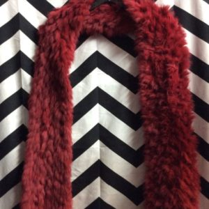KNIT SCARF SUPER SOFT RED FUR 2