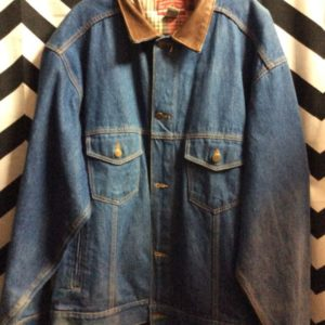 DENIM BUTTON UP JACKET LEATHER COLLAR 3