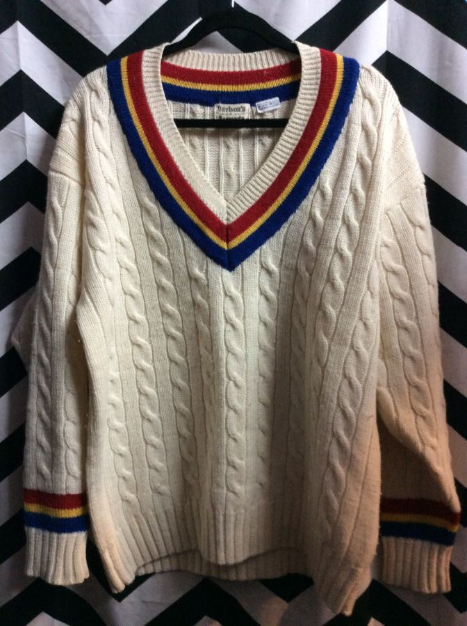 CABLE KNIT PULLOVER V NECK SWEATER MULTICOLOR STRIPES 2