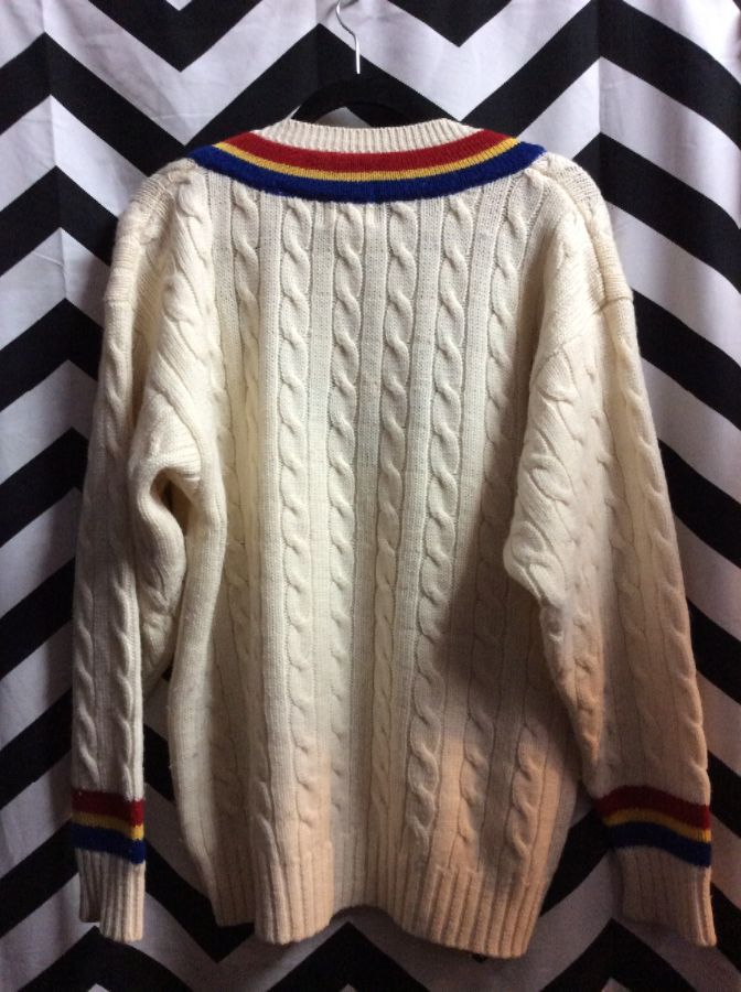 CABLE KNIT PULLOVER V NECK SWEATER MULTICOLOR STRIPES 1