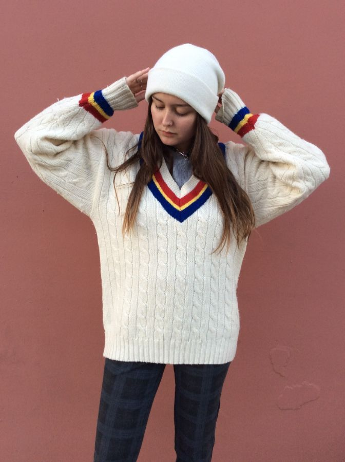 product details: RETRO CABLE KNIT PULLOVER V NECK SWEATER MULTICOLOR STRIPES photo