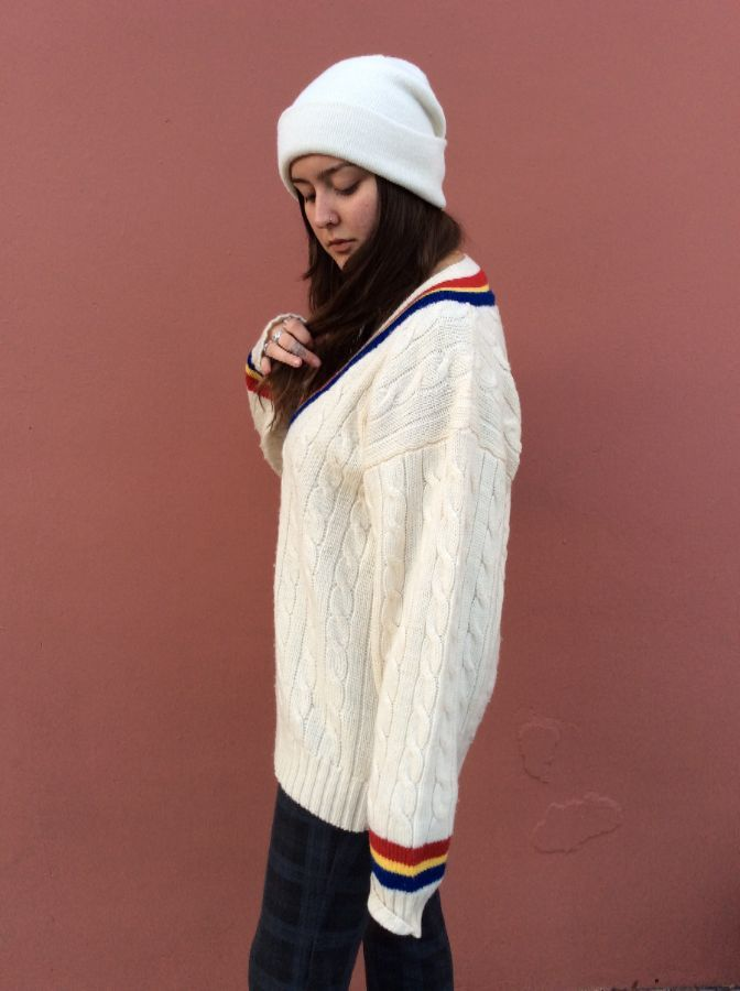 CABLE KNIT PULLOVER V NECK SWEATER MULTICOLOR STRIPES 4