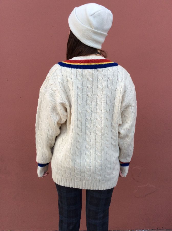 CABLE KNIT PULLOVER V NECK SWEATER MULTICOLOR STRIPES 5