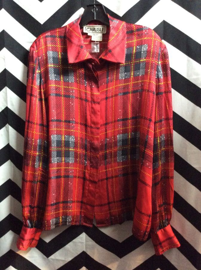 LS BD SILK PLAID PRINTED BLOUSE 1