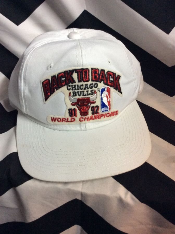 fe17afea572b6 NBA CHICAGO BULLS HAT BACK TO BACK WORLD CHAMPIONS 91-92 » Boardwalk Vintage