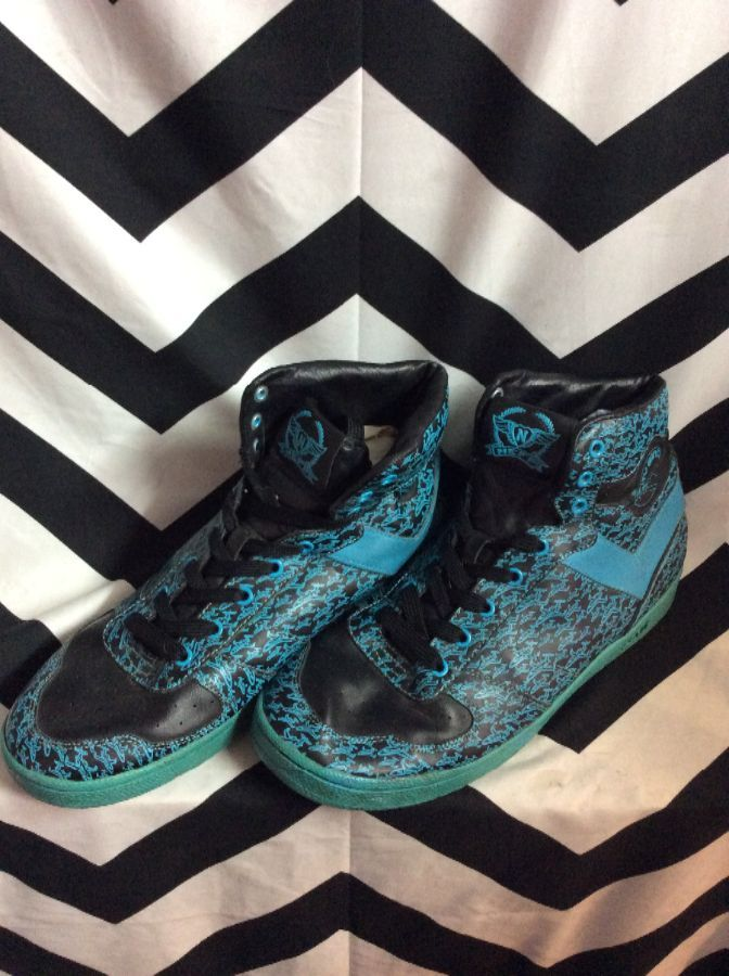PONY AIRPLANE PATTERN HIGH TOP SHOES 1