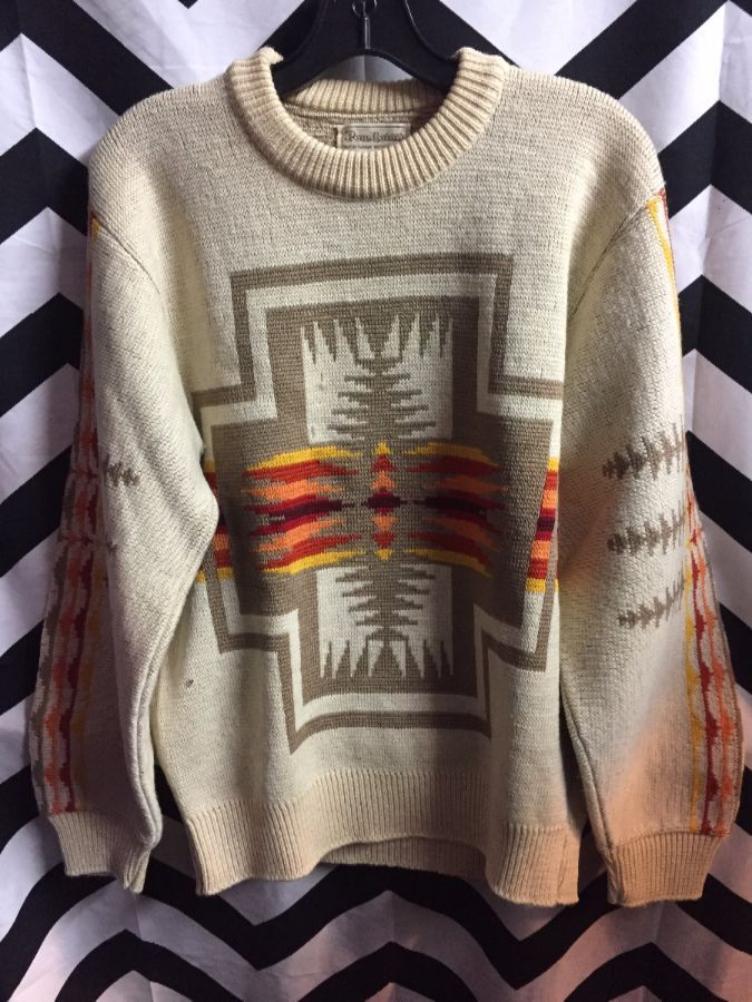 PENDLETON KNIT WOOL SWEATER NAVAJO DESIGN 1