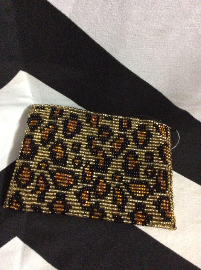 Bead woven coin purse Leopard pattern 1