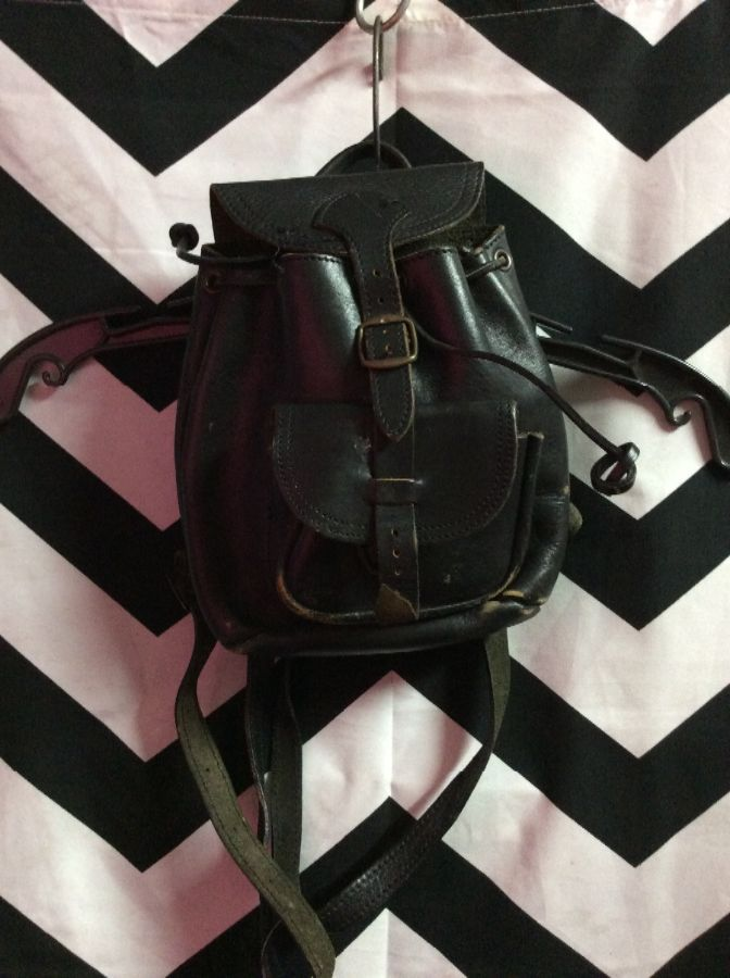 ALL LEATHER MINI BACKPACK BRASS HARDWARE 1