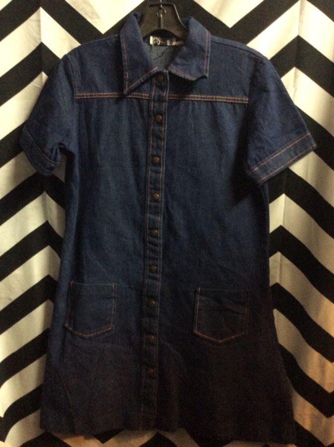 DENIM SS BD COLLARED DRESS TWO FRONT POCKETS 1
