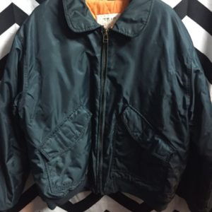 BOMBER JACKET WITH COLLAE THICK WINDBREAKER MATERIAL ORANGE LINING 1