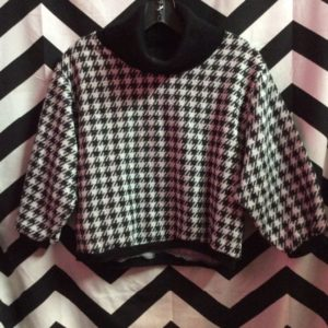 CROPPED TURTLE NECK HOUNDSTOOTH PULLOVER SWEATER *DEADSTOCK 1