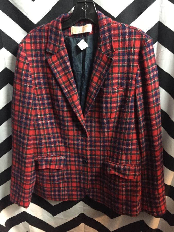 WOMENS WOOL TARTAN PLAID BLAZER SMALL FIT PENDLETON 1