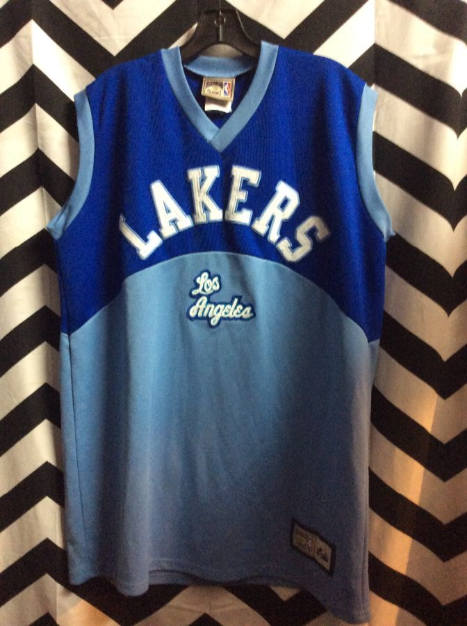 product details: LAKERS LOS ANGELES BLUE BABY BLUE BASKETBALL JERSEY photo