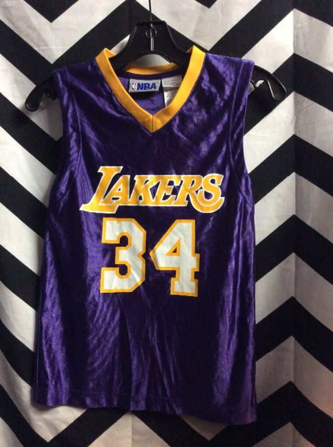 LAKERS #34 BASKETBALL JERSEY PURPLE GOLD TRIM 1