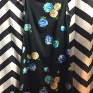 SLEEVELESS BLACK DRESS BLUE GREEN BROWN FLOWERS PATTERN 1