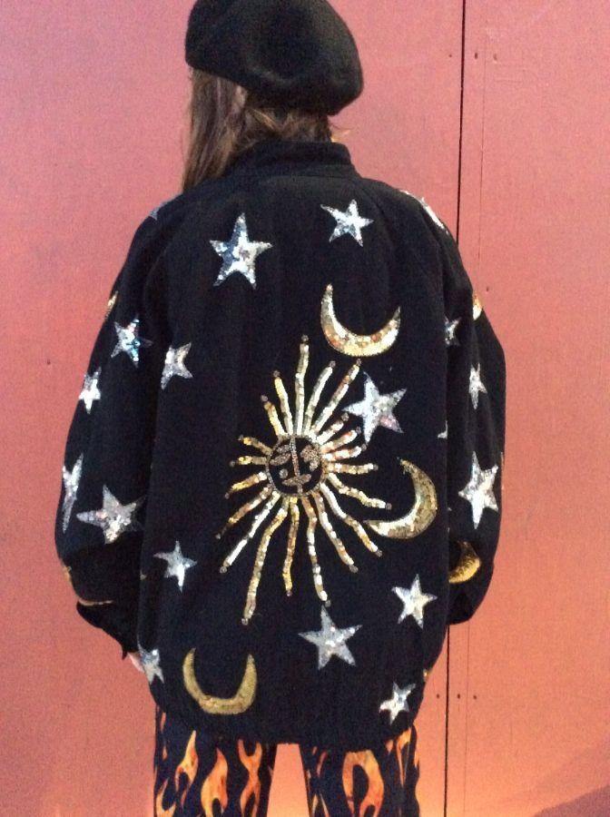DENIM ZIP UP BOMBER JACKET SEQUIN SUN, STARS, MOONS 5