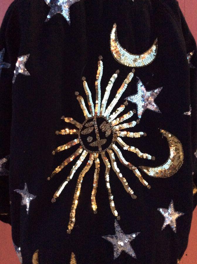 DENIM ZIP UP BOMBER JACKET SEQUIN SUN, STARS, MOONS 6