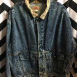 RETRO LEVIS ACID WASH DENIM JACKET W/ CORDUROY COLLAR AND WRISTS 3