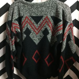 Geometric Pattern Knit Sweater with Lether patched Triangles 1