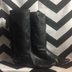 LEATHER BOOTS FRINGE BACK POINTED TOE 1
