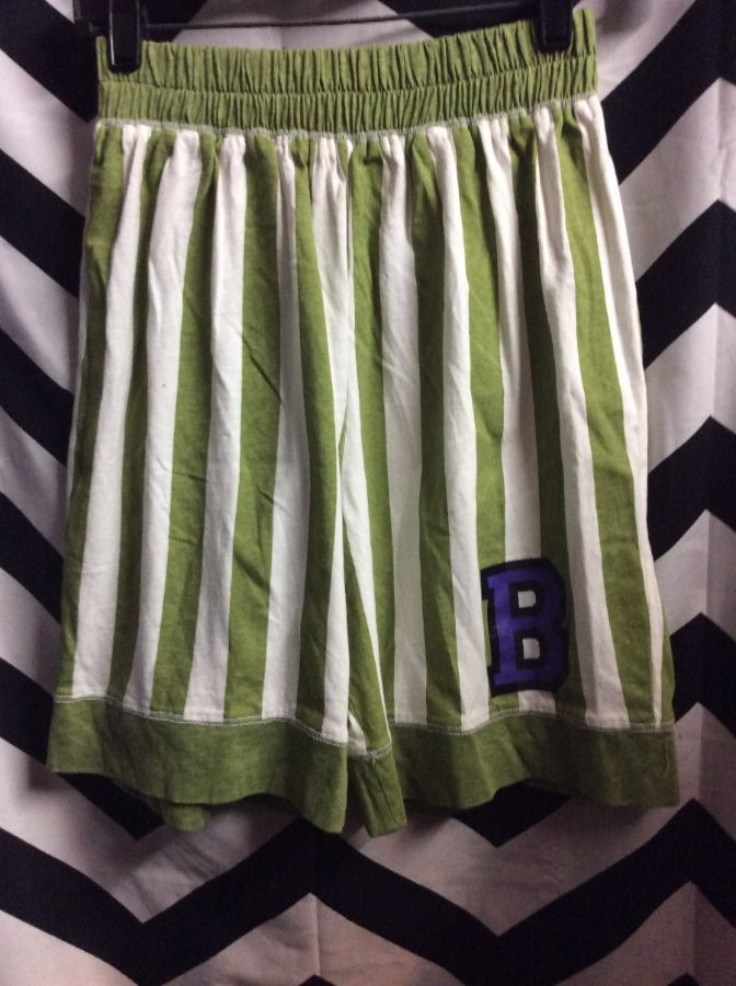 DEADSTOCK COTTON SHORTS VERTICAL STRIPED LETTER B 1