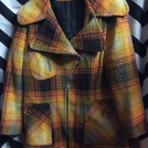 JACKET 60'S WOOL 3 DIFFERENT ZIP UP 3 POCKETS PLAID 1