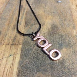 LITTLE YOLO CHARM NECKLACE GUNMETAL SNAKE CHAIN 1