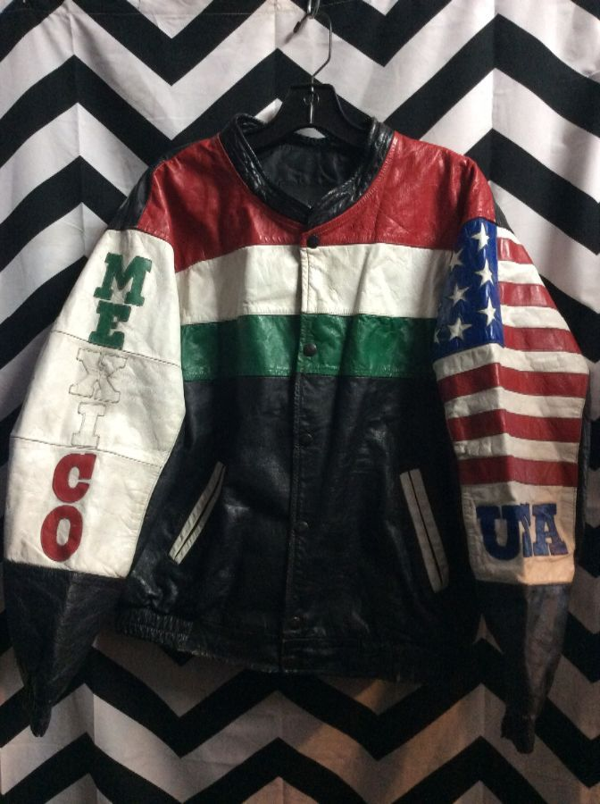 8eac3310d19 WORLD CUP LEATHER JACKET W  USA   MEXICO ARM PATCHES » Boardwalk Vintage
