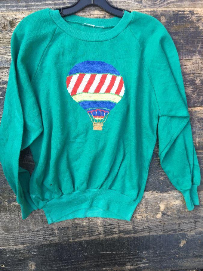 Woven Hot Air Balloon Pullover Sweatshirt 1