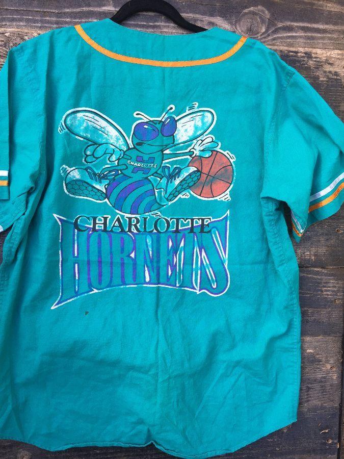 online retailer ee7e0 0bf7b NBA CHARLOTTE HORNETS BUTTON-UP BASEBALL STYLE JERSEY