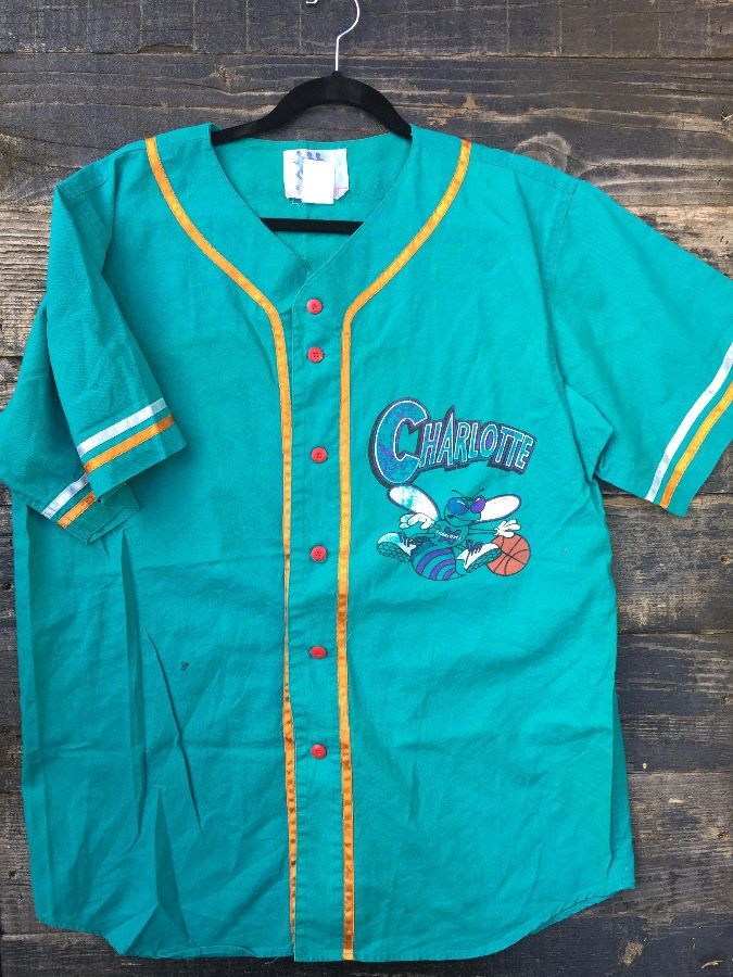nba charlotte hornets button up baseball style jersey boardwalk