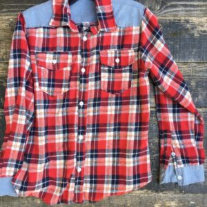 western style button up flannel w chambre shoulder and cuffs 1