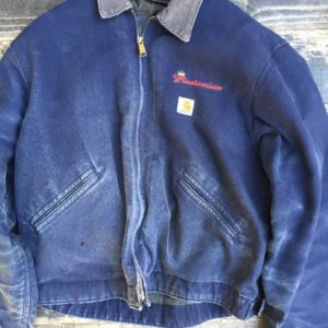 Budweiser embroidered Carhartt Thick Denim Jacket w/ corduroy collar and blanket lining 1