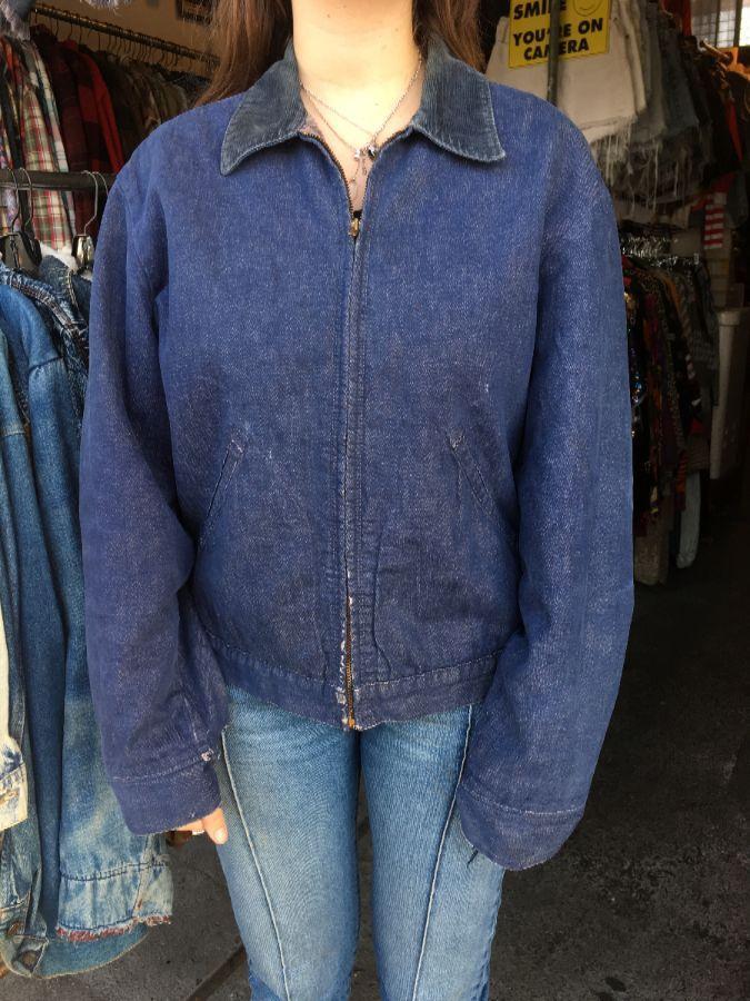Denim Jacket Zip Up W Corduroy Collar Wool Lining Boardwalk Vintage