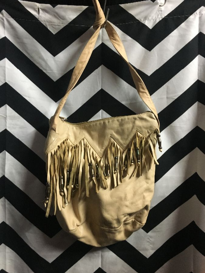 LEATHER PURSE FRINGED W/ BEADS KNOTTED STRAP ZIPPED OPENING- AS IS 1