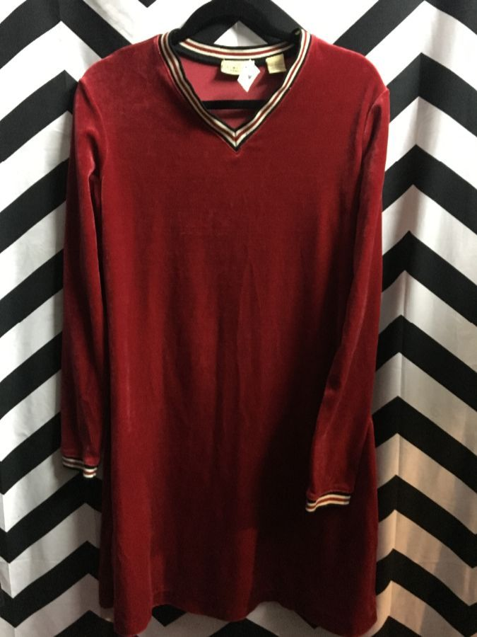 LS VELVET MINI DRESS STRIPED RIBBED COLLAR AND CUFFS 1