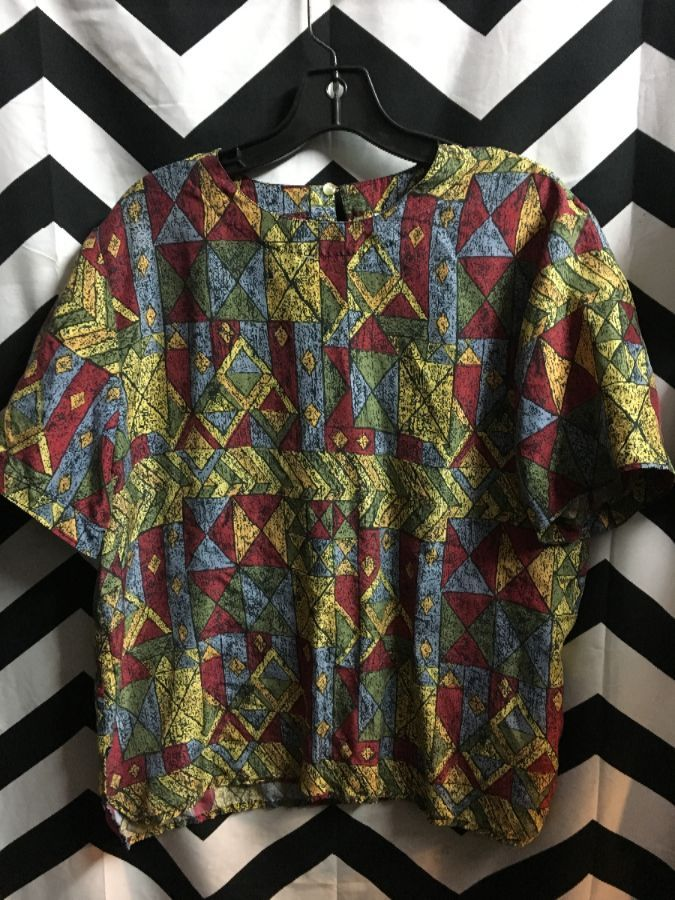 product details: 1990'S SILK BOXY PULLOVER TOP W/ GEOMETRIC PRINT photo