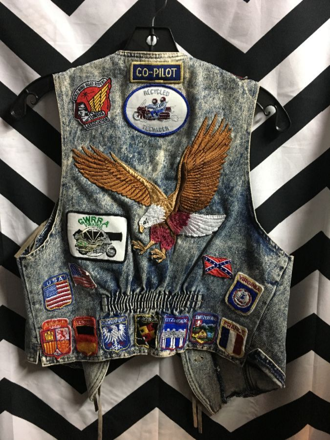 DENIM VEST ACID WASH MULTI PATCHES & LEOPARD FRINGE 1