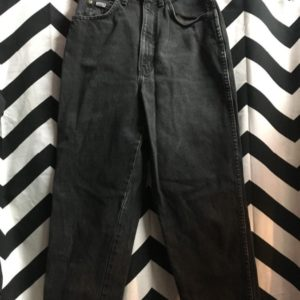 CHIC BLACK DENIM HIGH WAISTED JEANS 1